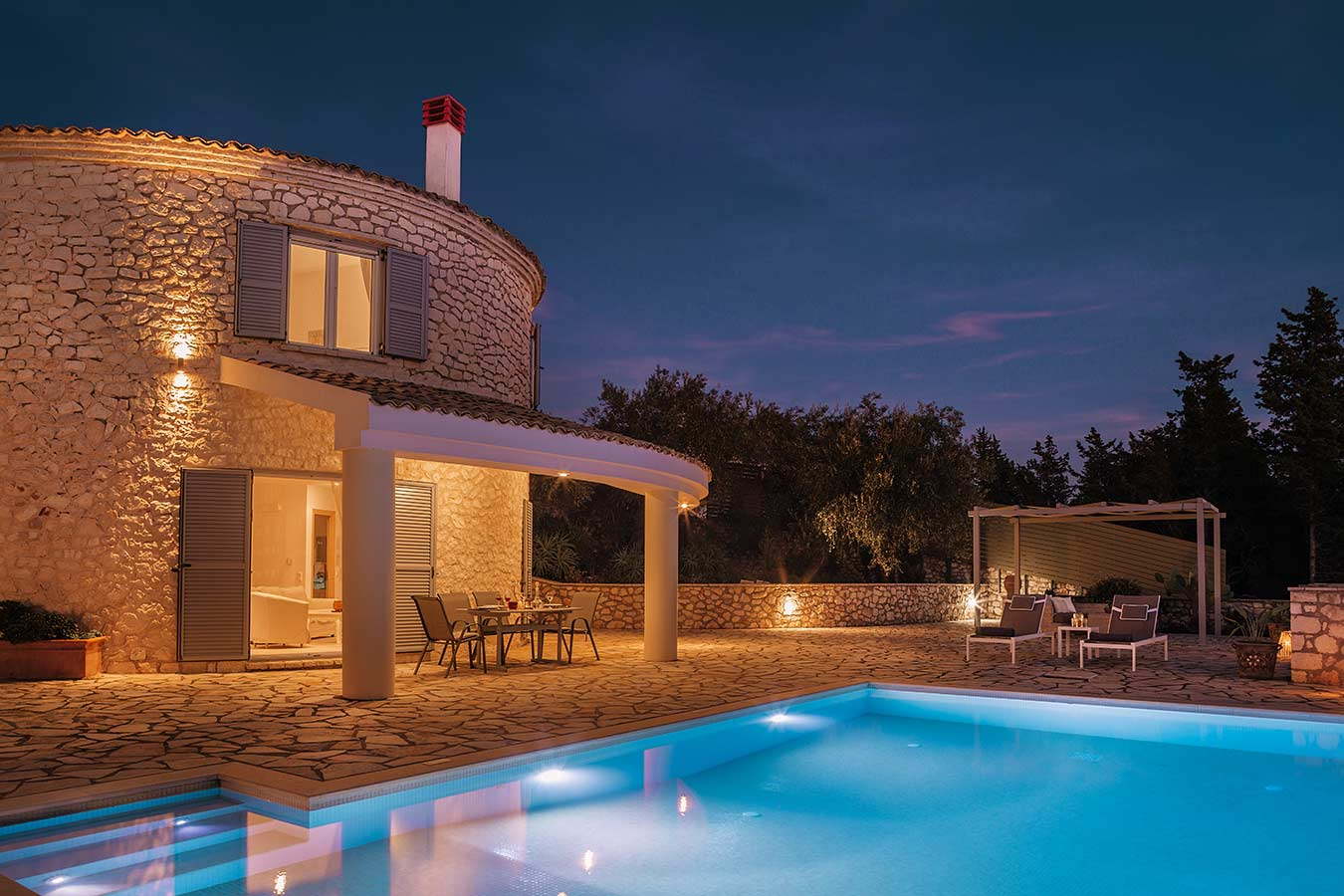 Round-House Paxos Villa Pool Night