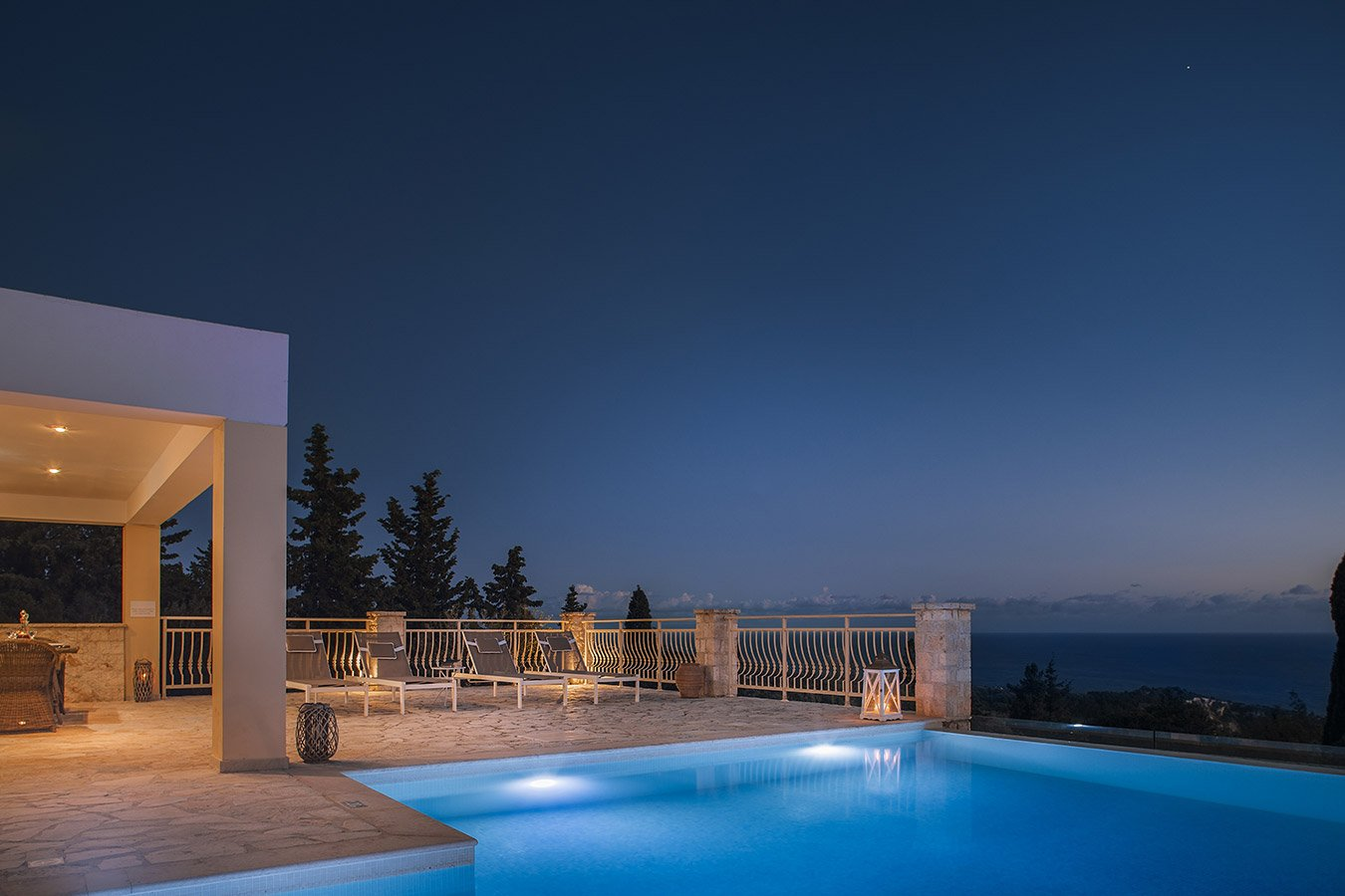Kyparissi Villa Paxos Pool Night